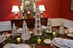 mercury glass trees for dining room table