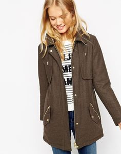 Image 1 of ASOS Parka with Stitch Detail in Wool