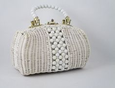 Nana had something similar! ----1960s White Wicker Handbag Basket Purse by alleycatsvintage
