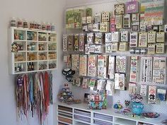 Aha! This is how I need to organize all my scrapbooking stuff! Peg board!