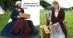 Stehfaltenkleid und Schaube. Typisch gegen Ende des 15. Jahrhundert in Süddeutschland.