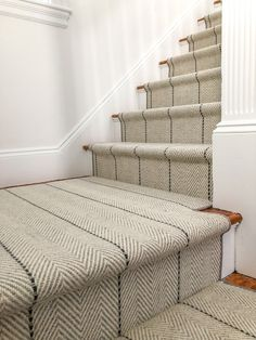 Home - Carpet Workroom Staircase Runner, Modern Staircase, Staircase Design, Spiral Staircases, Carpet Runners For Stairs, Best Carpet For Stairs, Home Design, Flur Design, Striped Carpet Stairs