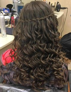Top waterfall braid styles for women. Different waterfall braid styles for every occasion. Balayage Long Hair, Ombre Curly Hair, Curly Hair Braids, Long Curly Hair, Curly Hair Styles, Prom Hairstyles For Long Hair, Loose Hairstyles, Braided Hairstyles, Updo Hairstyle