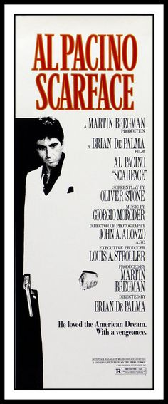 """Scarface FRIDGE MAGNET 7x17"""" Al Pacino Movie Poster Magnetic Canvas Print"""