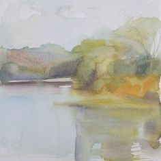 "Rebecca Ryland- September, River Road,watercolour on paper, 12"" x 12"""