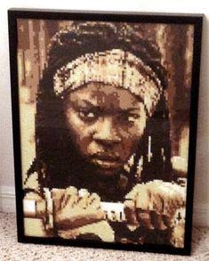 Walking Dead Michonne perler portrait by Tim Proctor