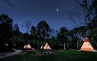 """North Georgia Canopy Tours™ seventeepees (or tipis) offer """"glamping."""" Each teepee has heat/AC, lighting and electrical outlets. Alternatively, 15 rustic camping sites are available for people choo"""