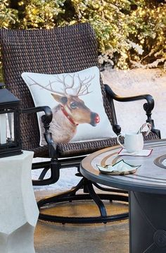 These beautiful reindeer renderings will extend the holiday spirit to any space, indoors or out. An original painting is digitally printed with UV-resistant paint onto high-performing Dacron® fabric. The Reindeer Indoor/Outdoor Pillow repels water, mold and mildew and resists fading.