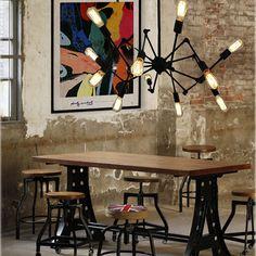VINTAGE BLACK BARN CHANDELIER WITH 12 LIGHTS PENDANT LAMP CEILING LIGHT in Home, Furniture & DIY, Lighting, Ceiling Lights & Chandeliers | eBay