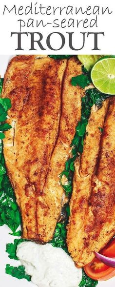 Mediterranean Pan Seared Trout Recipe with Tzatziki Sauce | The Mediterranean Dish. My favorite way to eat trout fillet ever! First the trout fillets are spiced Mediterranean-style, then simply seared in olive oil and a hint of butter. Served with a simple arugula salad and Greek Tzatziki sauce. See the recipe on TheMediterraneanD...
