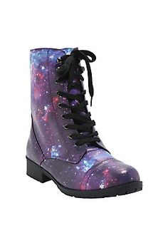 """<div>If it feels like you're walking on the moon, it may be because you're wearing these lace-front galaxy print combat boots. You're in zero gravity! (Well, not really, but just imagine it!)</div><div><ul><li style=""""list-style-position: inside !important; list-style-type: disc !important"""">Man-made materials</li><li style=""""list-style-position: inside !important; list-style-type: disc !important"""">1 1/4"""" heel</li><li style=""""list-style-position: inside !important; list-style-type: disc !i..."""