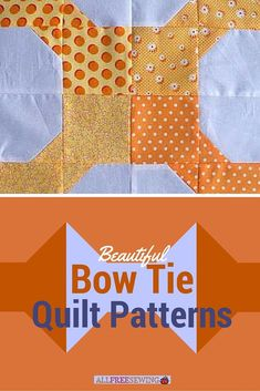 With a little time and a charm pack you have lying around, you can easily assemble and sew this Basic Bow Tie Quilt Block together. The bow tie quilt block originated around the turn of the century, so you can use some vintage print fabric for i Quilting Tutorials, Quilting Projects, Quilting Designs, Quilting Ideas, Amish Quilt Patterns, Pattern Blocks, Pattern Ideas, Small Quilts, Easy Quilts