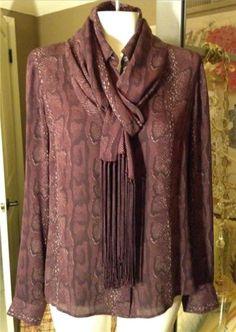 Auth-Celine-Purple-Python-Print-Silk-Shirt-Top-Blouse-with-Scarf-Size-42-10