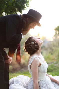 Movie Inspired Engagement photo - Benny and Joon. (Wow. Some people takes things pretty far. A birthday party is one thing...)