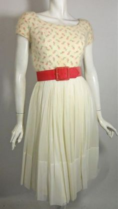 60s dress with pink rose print angora bodice, velvet belt and silk chiffon skirt