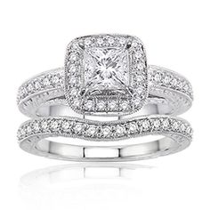 carat princess cut diamond bridal set ring white go Cute Engagement Rings, Wedding Engagement, Bling Wedding, Wedding Rings, Dream Wedding, Heavy Metal, Bridal Ring Sets, Bridal Rings, Accessories