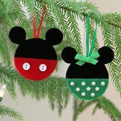 Disney crafts Felt - Mickey and Minnie Felt Christmas Ornaments Felt Christmas Decorations, Felt Christmas Ornaments, Handmade Christmas, Christmas Fun, Tree Decorations, Disney Felt Ornaments, Disney Christmas Crafts, Mickey Mouse Ornaments, Disney Holidays