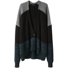 Alexander Wang Marled Color Block Cardigan ( 545) ❤ liked on Polyvore  featuring tops 9e3fc27ae