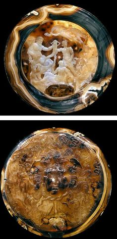 Roman cameo cup, Farnese Cup Tazza Farnese, 2nd century B.C. Cameo cup of hellenistic Egypt in four layered sardonyx agate, it is a phiale libation plate, the internal decoration is an elaborate allegory of Ptolemaic Egypt's prosperity, Serapis-Isis-Harpocrates or alternatively, the Eleusinian triad Hades/Pluto-Demeter-Triptolemos, on the exterior Gorgonian mask glares threateningly at the enemies of the state, 20 cm diameter. Museo Archeologico Nazionale Napoli