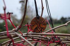 Wooden handmade pendant Veles Weles slavic god symbol and his