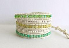 Beaded Leather Wrap Bracelet - Lime Green Mix Beads, White Beach Leather - Bohemian Artisan Jewelry