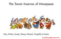 THE SEVEN DWARVES OF MENOPAUSE... many women go through Menopause early because of a hysterectomy or a drug called Lupron, which is the DEVIL