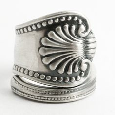 Silver Shell Ring, Sterling Silver Spoon Ring, Victorian Ring, Beaded Silver, Antique Spoon Ring, Milgrain Ring, Customized Ring Size (6589) by Spoonier on Etsy
