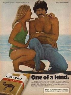 Camel advertisement, 1978: Man needs fire to light smokes!....Gotta light?