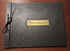 Vintage 1940-50's Unused Black Photographs Scrapbook With Embossed  Design Cover
