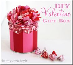 Cut up pretty Victoria's Secret boxes and an empty peanut can to make this festive gift box