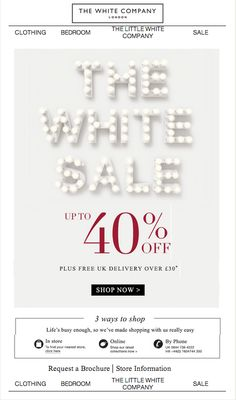 the white company. the white sale. black friday. holiday email. simple clean email design.