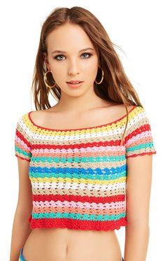 Crochet Jumper, Crochet Crop Top, Crochet Blouse, Cotton Crochet, Diy Crochet, Crochet Bikini, Crochet Puff Flower, Crochet Woman, Crochet Clothes