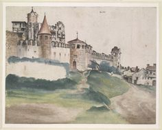 Albrecht Dürer. View of the castle at Trent; the circular towers and walls with crenellations, viewed from slightly below the mound. 1495-1500 Pen and black ink, with watercolour, touched with white  © The Trustees of the British Museum