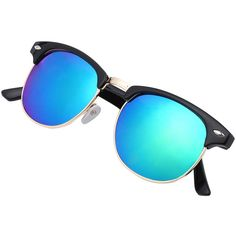 Browline Frame Mirrored Lenses Sunglasses ($5.99) ❤ liked on Polyvore featuring accessories, eyewear, sunglasses, blue, mirrored lens sunglasses, blue sunglasses, blue glasses, blue mirror lens sunglasses and mirror lens sunglasses