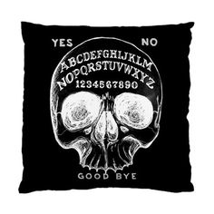 2 sided Ouija Skull Pillow case fits standard 17x17 cushions.  By StuffoftheDead on Etsy for $29.