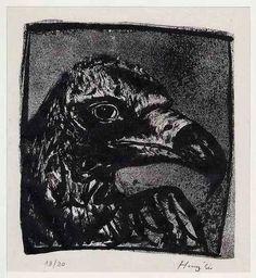 Hunziker,Max : ADLERSKOPF - Handätzung des SCHWEIZER Surrealisten, handsigniert 1963 - 1 v. 20 Exemplaren