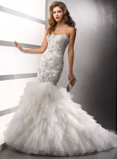 Dropped Beading Embroidery Puffy Tulle Mermaid Wedding Dress US/UK 2 4 6 8 10 12 14 16 18
