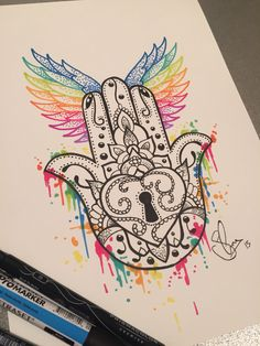 Hand of hamsa tattoo design