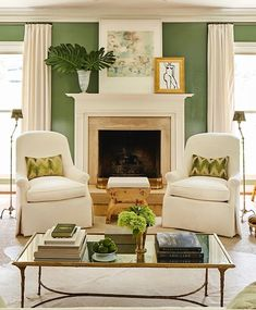 So excited to have our beloved former Nashville home featured today on @onekingslane!! Link in profile for the full tour or visit our… Sage Living Room, Living Room Chairs, Home And Living, Living Room Decor, Green Rooms, White Rooms, Living Room Designs, Living Spaces, Living Rooms