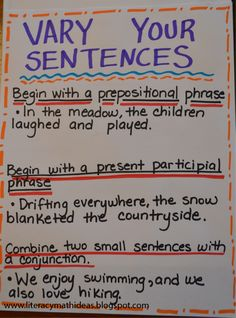 Literacy & Math Ideas: Vary Sentence Structure