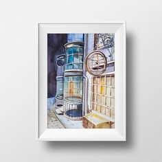Wall Art Watercolor Diagon Alley Print,Hary Potter,Movie Poster,Film,Hogwarts Hall,Harry Hermione Ron,Printable,Fan Gift,Room Decor