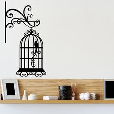 Nice Wall Mounted Bird Cage Right Vintage Wall Sticker