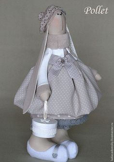 Зайка Pollet - 39 см - серый,зайчик,заяц,зайка девочка,нежно-серый,интерьерная кукла