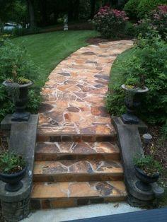 gartengestaltung mit steinen pfad steinpflaster treppe