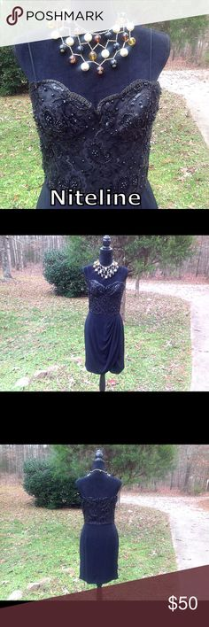 "NiteLine Black Formal Dress Size 12 Spaghetti Straps * Beaded Sequins Top * Triacetate 75% * Polyester 25% * Length 31"" * Bust 17"" (34) * Super Cute * NiteLine Dresses"