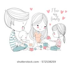 Find Happy Family Mother Father Children stock images in HD and millions of other royalty-free stock photos, illustrations and vectors in the Shutterstock collection. Thousands of new, high-quality pictures added every day. Family Illustration, Cute Illustration, Cartoon Familie, Bd Art, Love Cartoon Couple, Family Drawing, Cartoon Sketches, Mother And Father, Happy Family