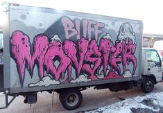 """This art movers' truck with a mural by graffiti artist """"Buff Monster"""" was parked outside of the Piers at the closing of the 2015 Armory Show"""