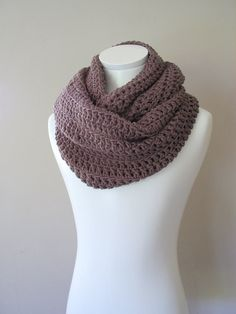 Plum scarf Double Infinity Crocheted Scarf Chunky by VeraJayne Crocheted Scarf, Crochet Scarves, Crochet Clothes, Knit Crochet, Double Infinity, Crochet Cushions, Crochet Patterns, Crochet Ideas, Scarf Styles
