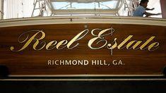#TRANSOM: Reel Estate, Richmond Hill Georgia #Boat #Transom #BoatTransom  TRANSOM #TECHNIQUE: #GoldLeaf   #BOAT #BUILDER #BoatBuilder: #JimSmithTournamentYachts, #Stuart, #Florida