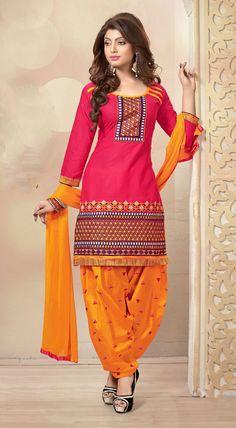 USD 37.55 Magenta Cambric Cotton Punjabi Suit 47275